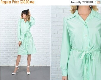ON SALE Vintage 70s Green Mod Dress Shift Shirtdress Shirt Dress Long Sleeve M L 9238