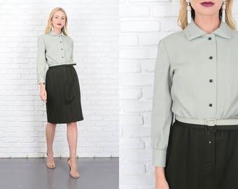 Vintage 70s Green Color Block Dress Shirt Dress Shirtdress Mod medium M 10127