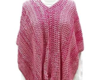 Pink Poncho, Summer Poncho, BeachCoverup, Boho Chic, Gift for Her, Crochet Poncho, Women Poncho, Multicolor, Stylish Poncho, Women Accessory