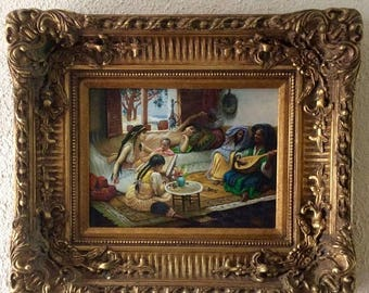 Sale Antique Vintage Oil Painting Orientalist Interior Scene Woman Children Music O/WP Art Heavy Ornate Gold Frame
