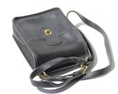 Vintage Black Leather Shoulder or Cross-body Bag