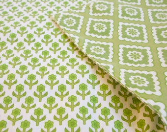 placemats six reversible cotton green print