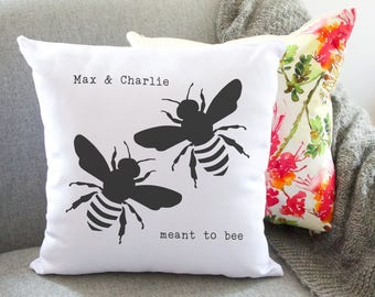 meant to bee couples personalised cushion - wedding cushion - anniversary cushion - engagement gifts for couple - wedding gift - bee print