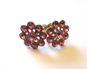 Vintage pink glass flower Earrings