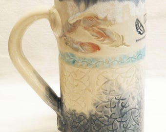 "ceramic artisan ""Time to Fly"" coffee mug 20oz stoneware 20D064"