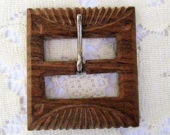 SALE 20% OFF Vintage Carved Wooden Belt Buckle