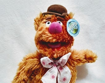 Spring SALE 20% OFF Vintage 1989 w tags! -Jim Henson The Muppets Fozzie Bear Stuffed Animal Doll Plushie 12""