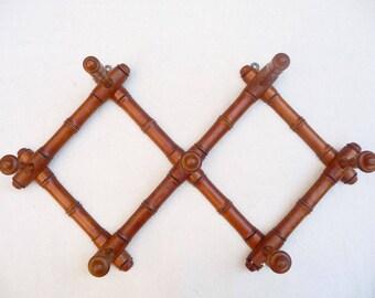 Vintage Coat Rack, French, Large Folding Coat Rack, Wall Rack, Faux Bamboo Accordion Hat Rack, Towel Rack, French Farmhouse