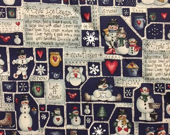 Vintage Let It Snow -  Leslie Beck Snowmen Fabric for VIP - Out of Print
