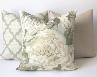 Sage green and aqua antique floral decorative pillow cover