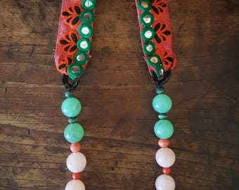 Vintage Indian Ribbon Watermelon Necklace with Vintage Beads