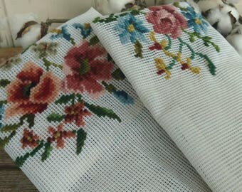 Vintage Rose + Floral Needlepoint Panel - Vintage Pretty Flowered Yarn Art, Needlepoint on Canvas, Recovering Chairs, Wall Art, Pillow Panel