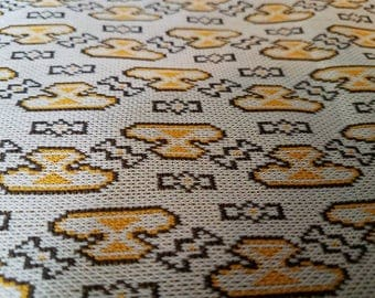 """Retro Mustard + Brown Knit Fabric - Polyester Knit Sewing Yardage, Vintage Geometric Polyester Knit, Sewing Supplies, Mod Polyester, 86""""x48"""""""