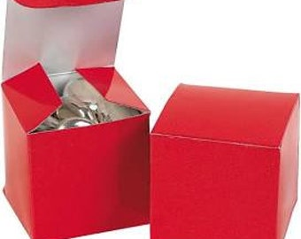 """TEN 2"""" x 2"""" x 2"""" red favor boxes"""