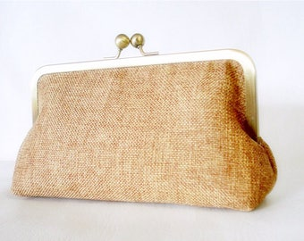 Last One Shabby Chic Burlap Clutch Made to order