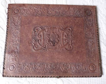 Antique French tooled leather book cover folder w embossed flowers LARGE 1900s brown leather document cover folder cover w moire lining