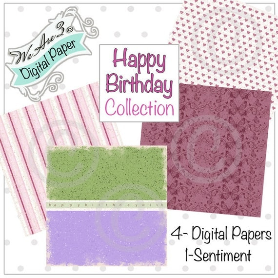 We Are 3 Digital Paper, Happy Birthday & Sentiment,  Kit and Clowder
