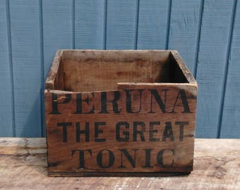 Peruna Tonic Crate - Vintage Crate - Wooden Crate - Medical Crate