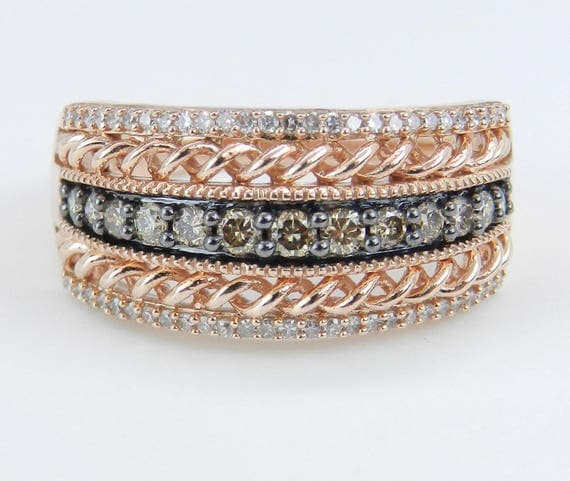 White and Cognac Diamond Wedding Ring Anniversary Band Rose Pink Gold Size 7