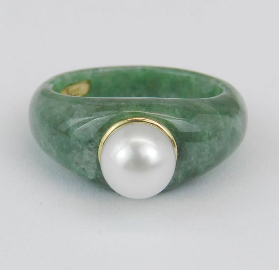 14K Yellow Gold Jade and Pearl Unique Solitaire Engagement Ring Size 8 MUST SEE