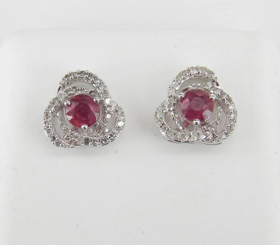 Ruby and Diamond Stud Earrings Halo Studs Earring White Gold July Birthstone