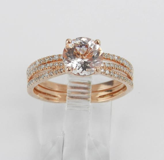 Diamond and Morganite Engagement Ring Wedding Band Set 14K Rose Gold Size 7