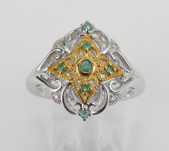 Vintage Reproduction Two Tone Gold Diamond and Emerald Cluster Ring Size 6.75