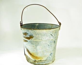 Rusty Farm Bucket, Vintage Farmhouse Decor, Garden Bucket Planter