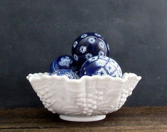 Milk Glass Bowl, Imperial Glass, Vintage Grape Pattern