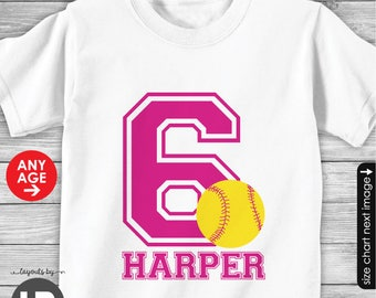Softball Birthday Shirt or Bodysuit -- Personalized Softball Shirt with Child's Name & ANY AGE