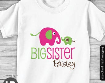 Elephant Big Sister Shirt or Bodysuit - Personalized Big Sister Shirt - Big Sister gift - Elephant Baby Shower - Elephant Birthday Shirt