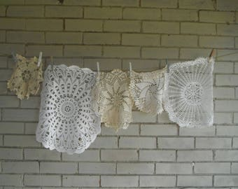 5 piece doilies cottage decor large doilies upcycling shabby chic white doily french country cotton doilies supplies destash vintage doilies