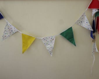 Flag Bunting, Party Flags, Fabric Garland, Blue, Yellow, Green, and Red Paws Party Bunting