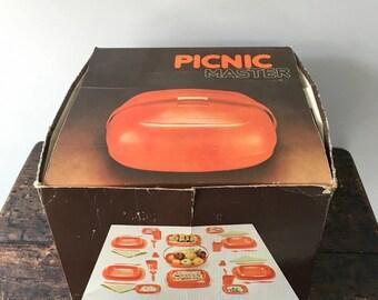 "Vintage 1970's ""Picnic Master"" Full Plastic Picnic Set In Bright Yellow"