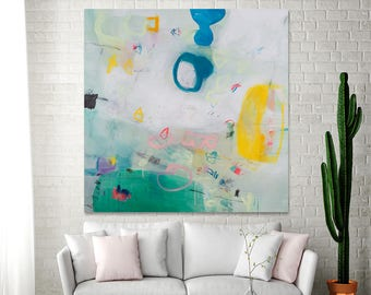 Large wall art White painting with green and yellow colorful modern painting ABSTRACT painting 36x36 by DUEALBERI