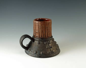 Ceramic Cup - Steampunk - Pottery Coffee Cup - Unique Handmade Mug - Industrial Metal - Art Pottery - Functional Ceramics - MS111