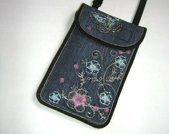 Neck Cell Phone Purse recycled denim cover fit iPhone 6 Smartphone Case phone purse Cute hipster wallet with back small pocket Jeans Case