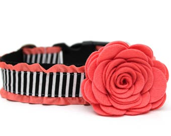 Dog Collar Flower Add-on Felt Flower Coral Dog Flower