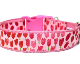 "Spring Dog Collar 1"" or 1.5"" Tulip Dog Collar Flower Dog Collar"