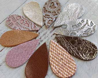 10 pairs / 20pcs Leather Teardrops Die Cut, Mixed Colors Metallic Genuine Leather, Embossed Patterns Leather