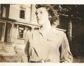 "Vintage Snapshot ""Self-Conscious"" Teenage Girl Looks Up and Away Low Angle Snapshot Found Vernacular Photo"