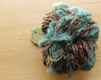 Unicorn Tail - Handspun Wool Art Yarn Half Pound Alpaca Beads Gold with Turquoise Curls