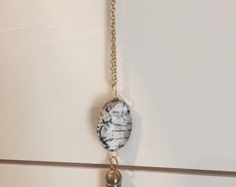 Pink stone tassel necklace