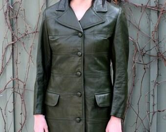 Long leather coat | Etsy