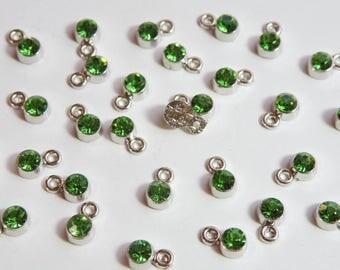 20 Tiny Peridot Green Rhinestone Crystal Drops silver finish charms 8x5mm August birthstone DB0092966