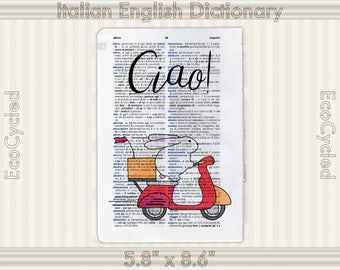Bunny on a Scooter Rabbit Riding a Scooter Ciao Vintage Upcycled Dictionary Art Print Book Print Recycled bookworm gift book lover art gift