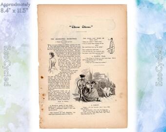 Puck's Library 1890  Old Weird Stories 1890s Short Vignettes w/ Illustrations Magazine Antique Vintage Paper Ephemera historical art print 3