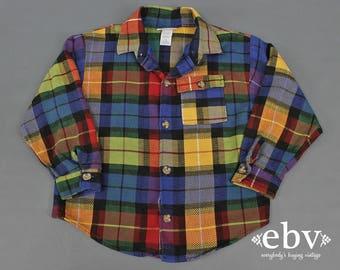 Kid's Vintage Children's Vintage Girl's Vintage Boy's Vintage Flannel Shirt 90s Plaid Shirt Oversized Plaid Shirt Kid's Size 6 Buster Brown