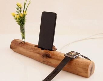 iWatch dock / iPhone dock / vase holder - iPhone 6 charging station - iPhone 7 docking station - iPhone 8 dock, iPhone X dock - handmade