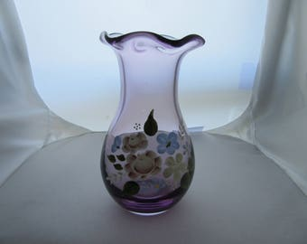 Hand Blown Purple Glass Vase with Floral Scene Maybe Unmarked Fenton